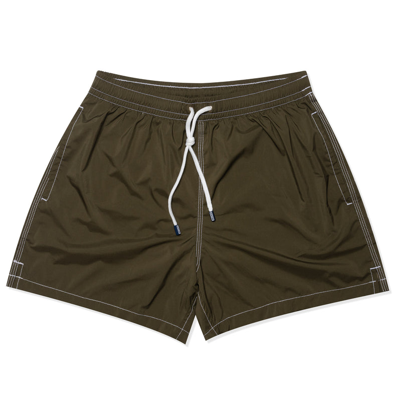 FEDELI Solid Army Green Madeira Airstop Swim Shorts Trunks NEW