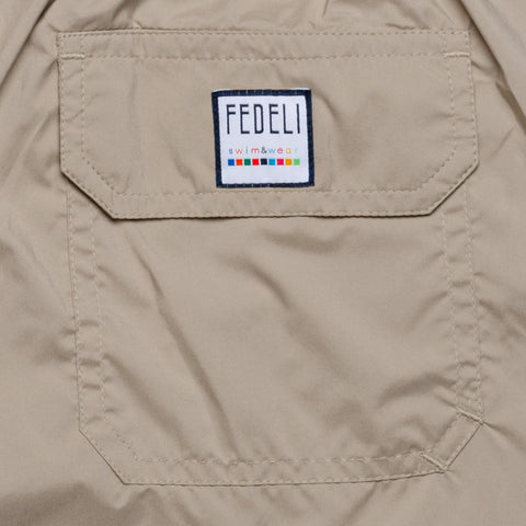 FEDELI Solid Beige Madeira Airstop Swim Shorts Trunks NEW XL