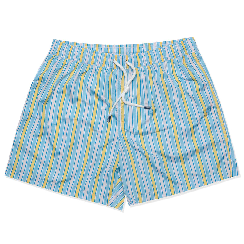 FEDELI Made in Italy Blue-White-Yellow Striped Madeira Airstop Swim Shorts Trunk