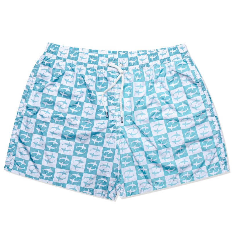 FEDELI Italy Blue-White Plaid Shark Madeira Airstop Swim Shorts Trunks NEW