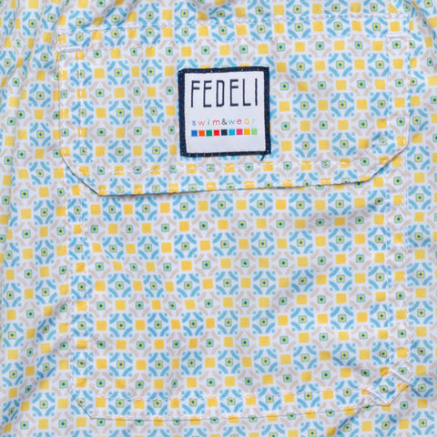 FEDELI Italy Blue-Yellow Geometric Madeira Airstop Swim Shorts Trunks NEW S