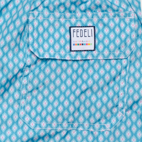 FEDELI Made in Italy Blue Printed Madeira Airstop Swim Shorts Trunks NEW