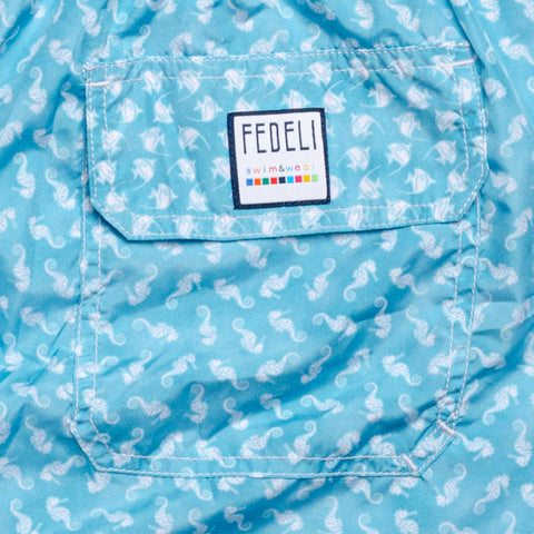 FEDELI Made in Italy Blue Seahorses Madeira Airstop Swim Shorts Trunks NEW 3XL