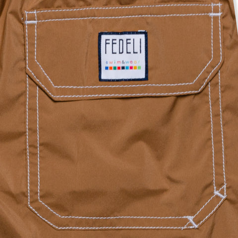 FEDELI Solid Brown Madeira Airstop Swim Shorts Trunks NEW