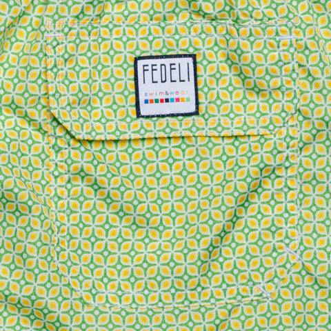 FEDELI Italy Green-Yellow Floral Dot Madeira Airstop Swim Shorts Trunks NEW XL
