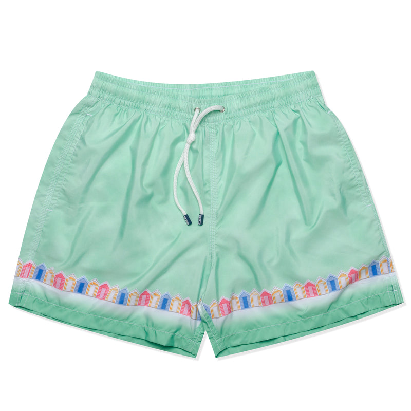 FEDELI Made in Italy Green Beach Cabin Madeira Airstop Swim Shorts Trunks NEW M