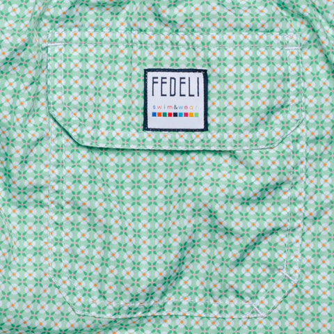 FEDELI Italy Green Floral Printed Madeira Airstop Swim Shorts Trunks NEW XL