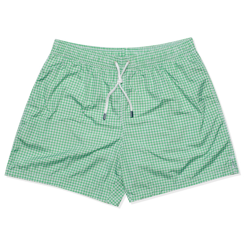FEDELI Made in Italy Green Floral Square Madeira Airstop Swim Shorts Trunks NEW