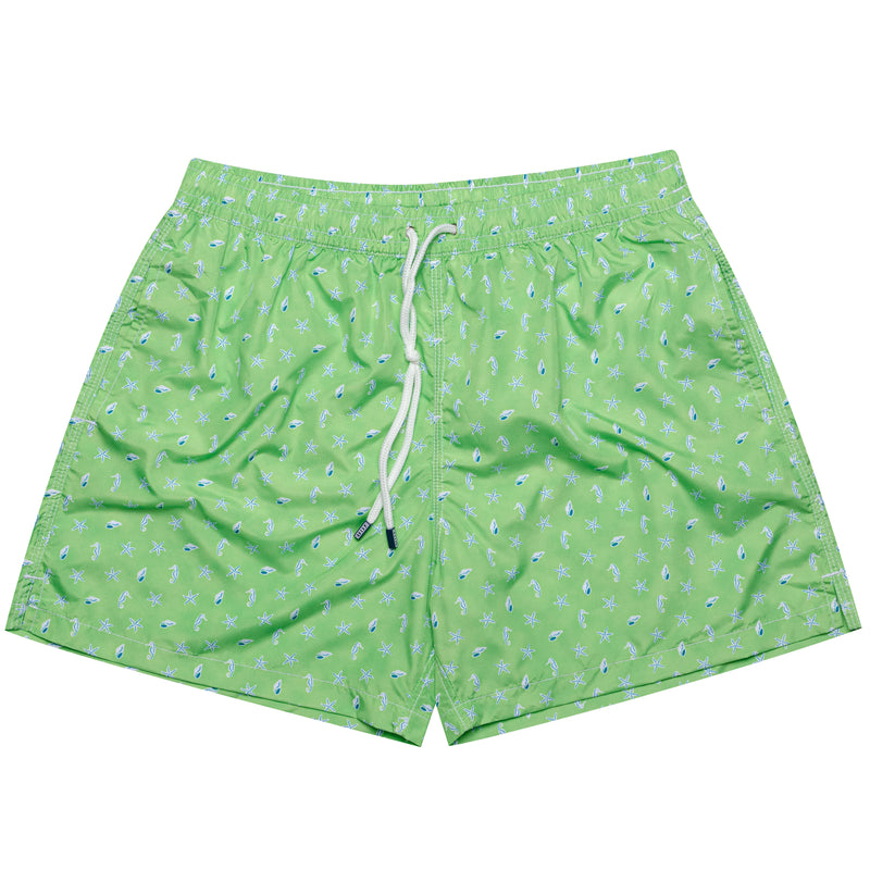 FEDELI Made in Italy Green Sea Animals Madeira Airstop Swim Shorts Trunks NEW XL