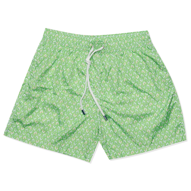 FEDELI Italy Green Slippers Printed Madeira Airstop Swim Shorts Trunks NEW