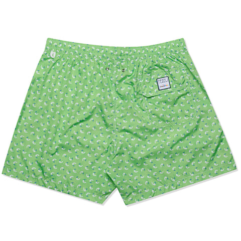 FEDELI Italy Green Whale Printed Madeira Airstop Swim Shorts Trunks NEW XL