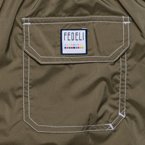 FEDELI Solid Khaki Madeira Airstop Swim Shorts Trunks NEW 3XL