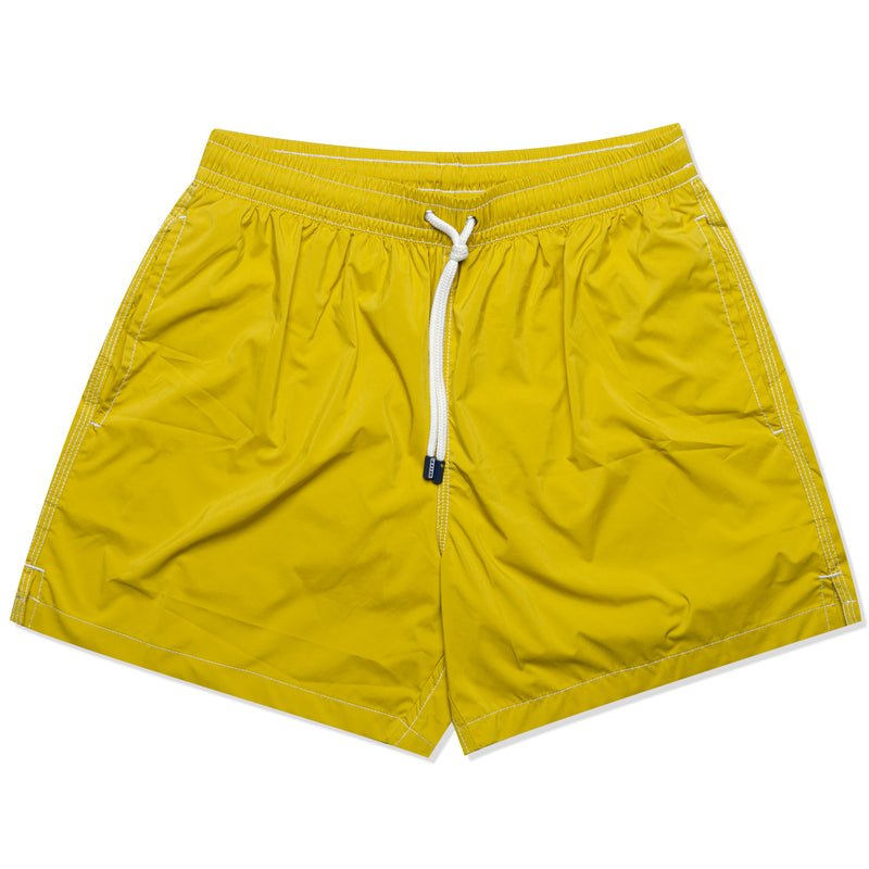 FEDELI Solid Mustard Madeira Airstop Swim Shorts Trunks NEW
