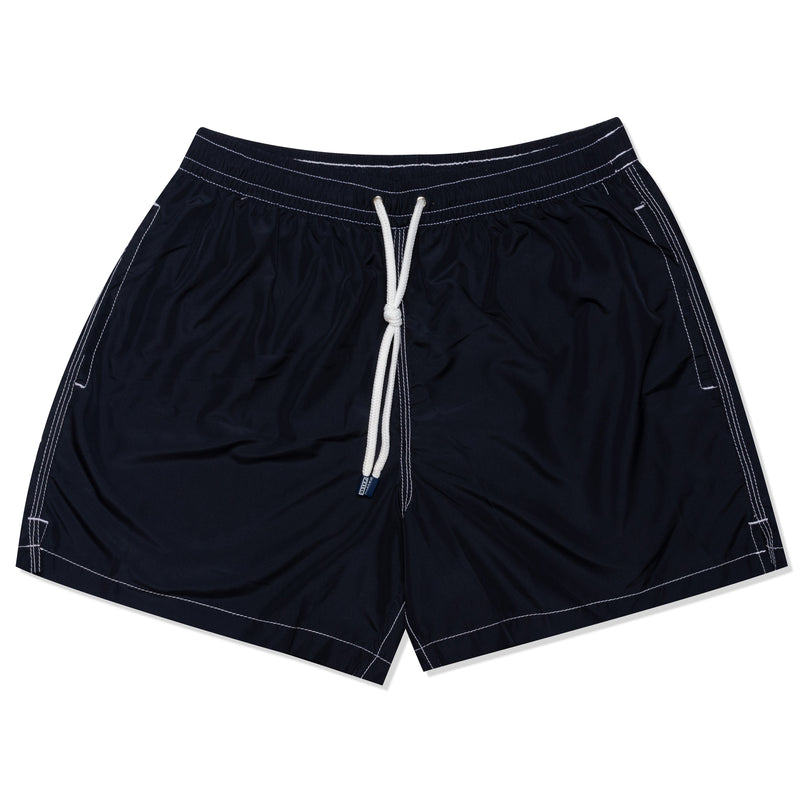 FEDELI Solid Navy Blue Madeira Airstop Swim Shorts Trunks NEW