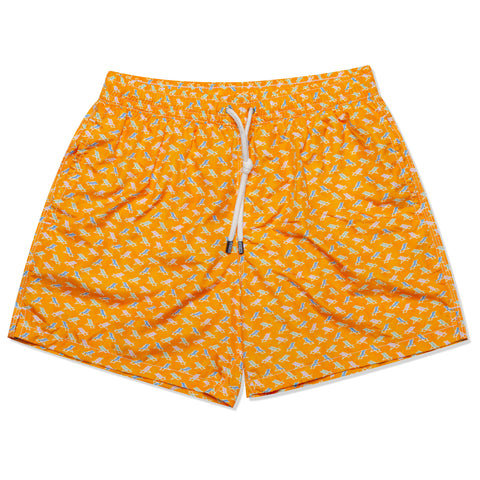 FEDELI Made in Italy Orange Deck Chair Madeira Airstop Swim Shorts Trunks NEW L
