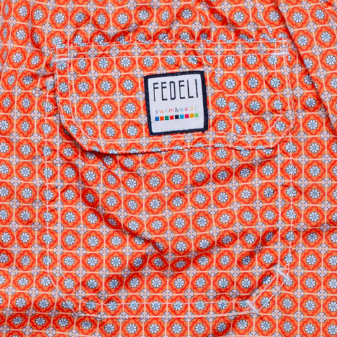 FEDELI Italy Orange Floral Plaid Madeira Airstop Swim Shorts Trunks NEW 2XL