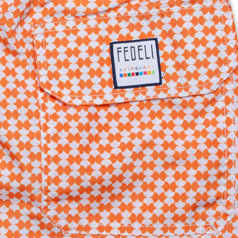 FEDELI Made in Italy Orange Geometric Madeira Airstop Swim Shorts Trunks NEW M