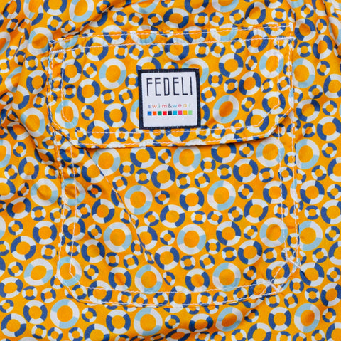 FEDELI Made in Italy Orange Lifebelt Madeira Airstop Swim Shorts Trunks NEW 2XL