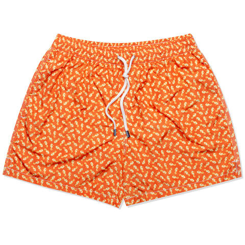 FEDELI Made in Italy Orange Seahorses Madeira Airstop Swim Shorts Trunks NEW