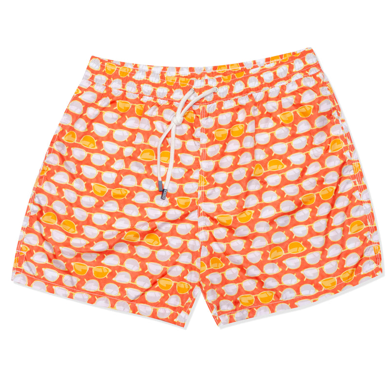 FEDELI Made in Italy Orange Sunglasses Madeira Airstop Swim Shorts Trunks NEW M