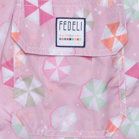 FEDELI Made in Italy Pink Beach Umbrella Madeira Airstop Swim Shorts Trunks NEW