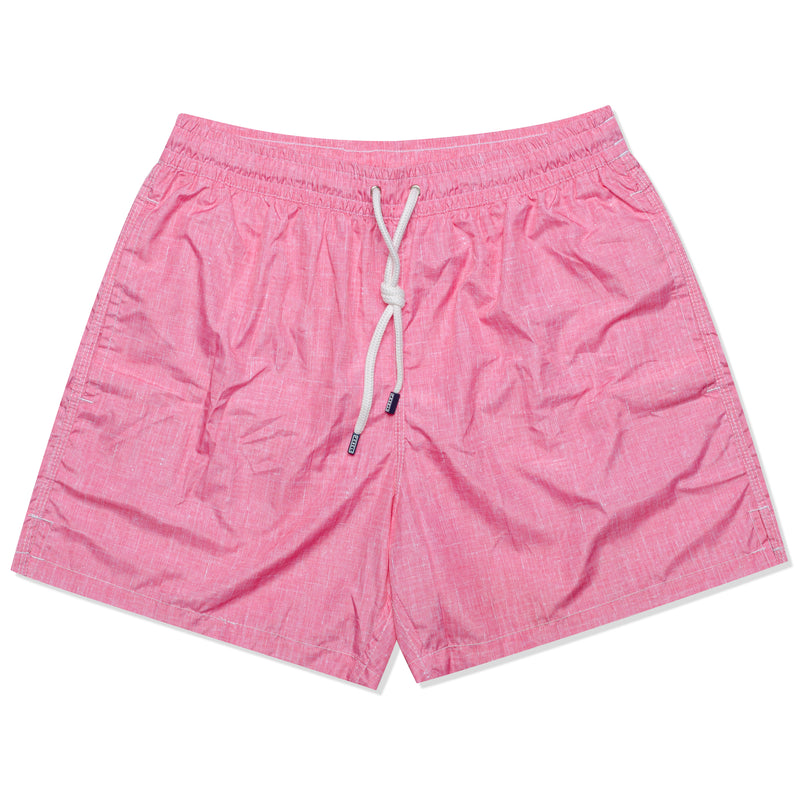 FEDELI Solid Pink Chambray Printed Madeira Airstop Swim Shorts Trunks NEW S