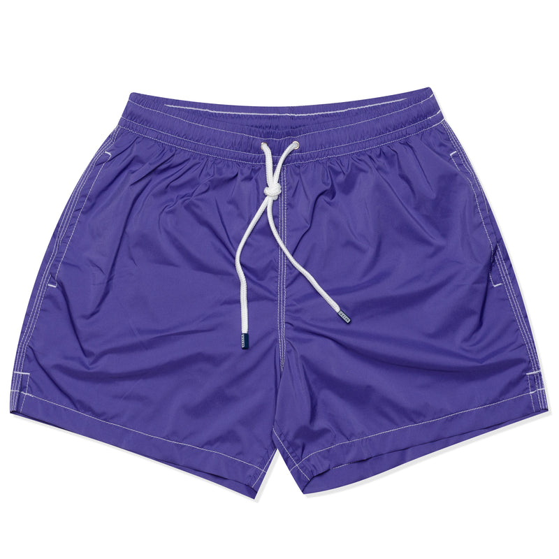 FEDELI Solid Purple Madeira Airstop Swim Shorts Trunks NEW