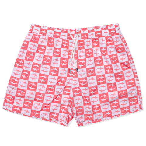 FEDELI Italy Red-White Plaid Shark Madeira Airstop Swim Shorts Trunks NEW