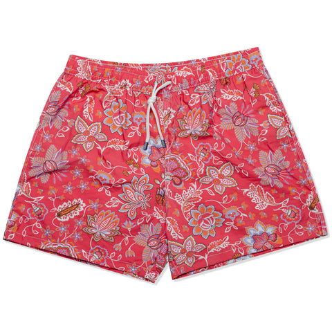 FEDELI MItaly Red Floral Printed Madeira Airstop Swim Shorts Trunks NEW 2XL