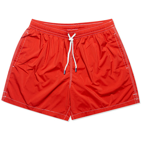 FEDELI Solid Brick Red Madeira Airstop Swim Shorts Trunks NEW