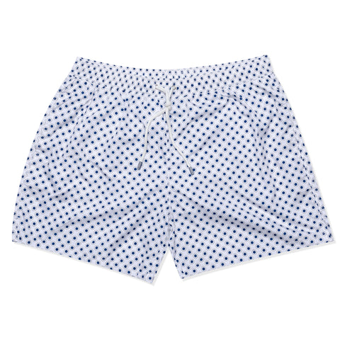 FEDELI Made in Italy White Dot Circle Madeira Airstop Swim Shorts Trunks NEW 3XL