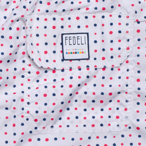 FEDELI Made in Italy White Dot Madeira Airstop Swim Shorts Trunks NEW Size 2XL
