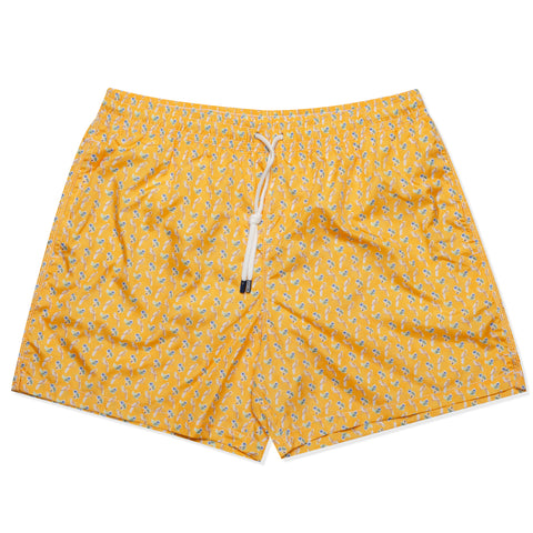 FEDELI Italy Yellow Bird Floral Madeira Airstop Swim Shorts Trunks NEW 2XL