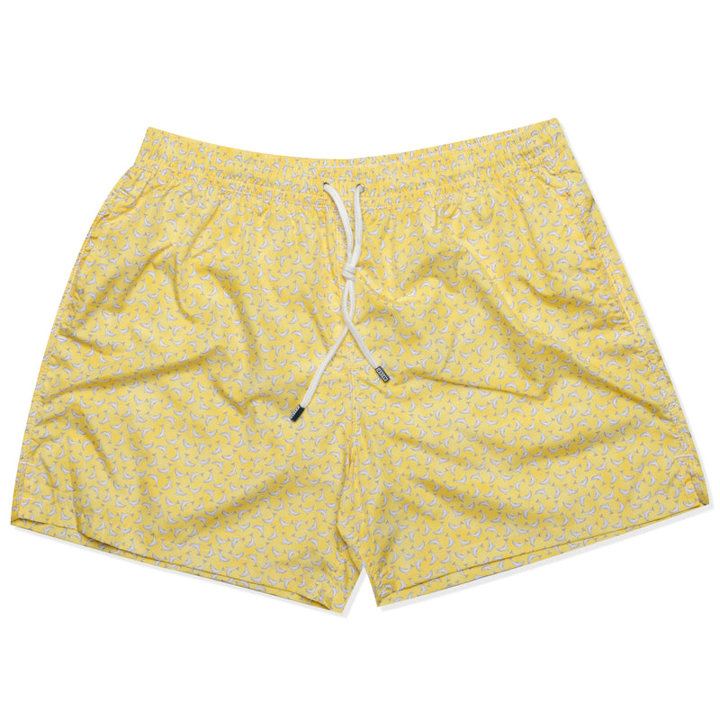 FEDELI Made in Italy Yellow Dolphin Madeira Airstop Swim Shorts Trunks NEW 3XL