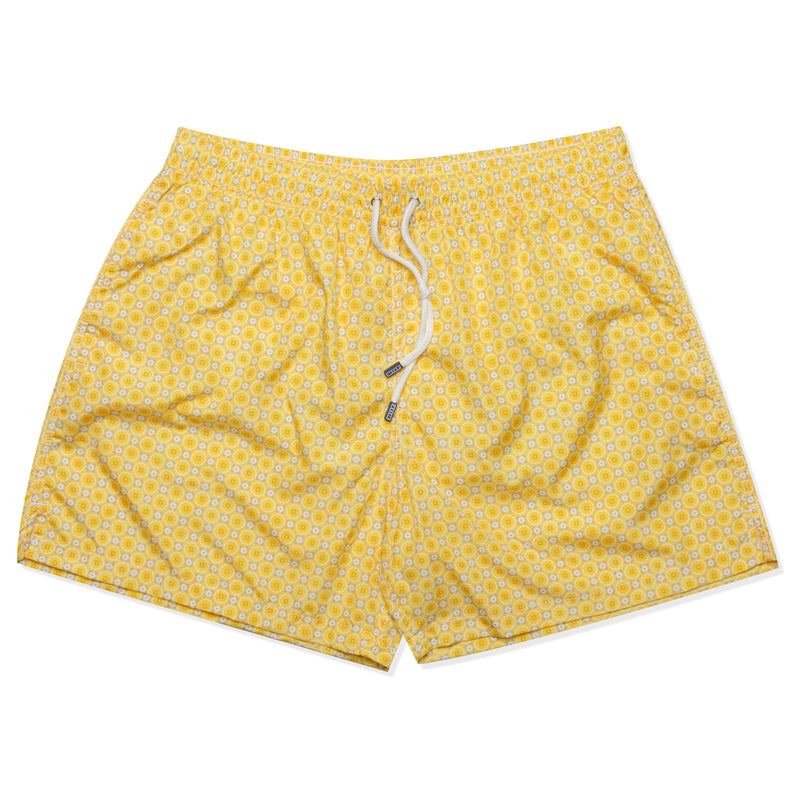 FEDELI Italy Yellow Floral Circle Madeira Airstop Swim Shorts Trunks NEW XL