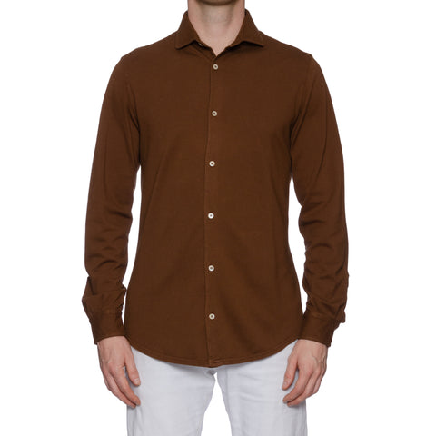"FEDELI ""Thomas"" Solid Brown Cotton Pique Frosted Long Sleeve Polo Shirt NEW"