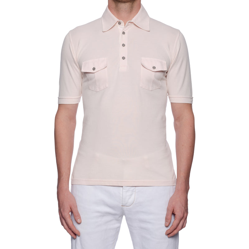 "FEDELI 34 LAB ""Velico"" Solid Light Pink Cotton Pique Frosted Short Sleeve Polo Shirt 48 NEW S"