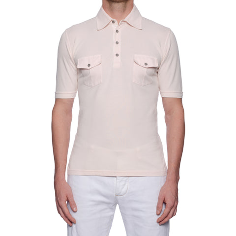 "FEDELI 34 LAB ""Velico"" Solid Light Pink Cotton Pique Frosted Polo Shirt 48 NEW S"
