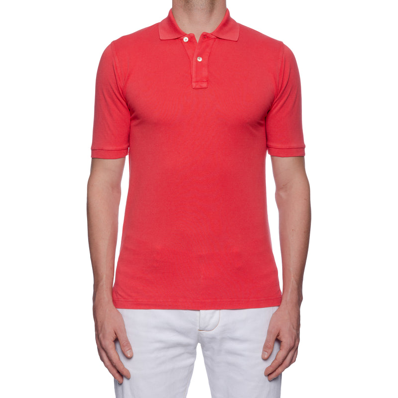 "FEDELI 34 LAB ""West"" Solid Coral Cotton Pique Frosted Short Sleeve Polo Shirt 48 NEW US S"