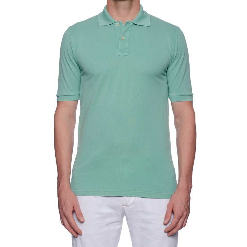 "FEDELI 34 LAB ""West"" Solid Mint Green Cotton Pique Frosted Short Sleeve Polo Shirt 48 NEW S"