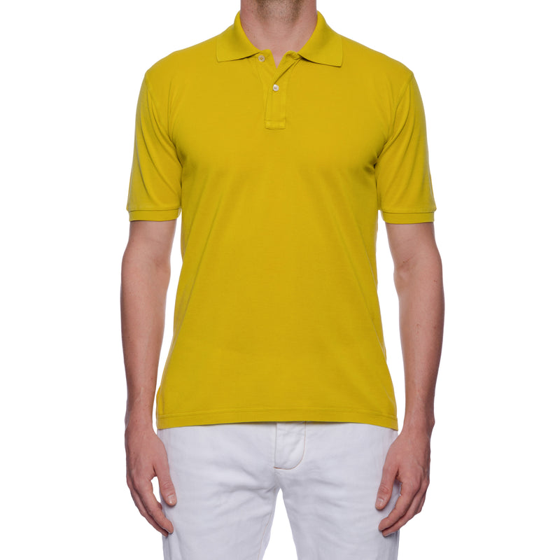 "FEDELI 34 LAB ""West"" Solid Mustard Cotton Pique Frosted Short Sleeve Polo Shirt NEW"