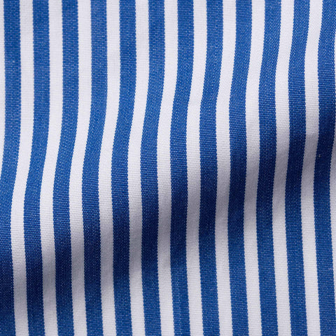FINAMORE Handmade Blue Striped Cotton French Cuff Dress Shirt EU 40 US 15.75