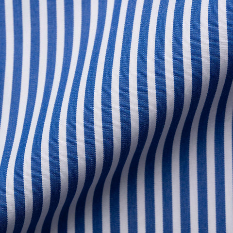 FINAMORE Handmade Blue Striped Poplin Cotton French Cuff Dress Shirt EU 40 US 15.75