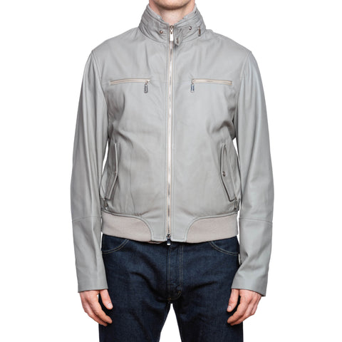 FRANCK NAMANI Gray Scotch-Grained Leather Unlined Bomber Jacket 50 US M