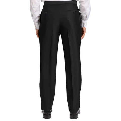 GARY ANDERSON Handmade Black Wool-Silk SP Tuxedo Dress Pants EU 50 NEW US 34