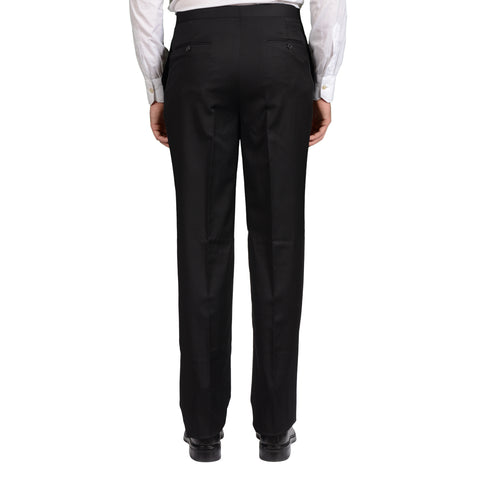 GARY ANDERSON Handmade Black Wool SP Tuxedo Dress Pants NEW