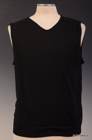 GIANFRANCO FERRE Solid Black Wool Sleeveless Sweater Vest Size US L NEW EU 52 - SARTORIALE - 1