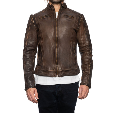 GIANLUCA VACCHI Collection Brown Antiqued Leather Cafe Racer Jacket XS