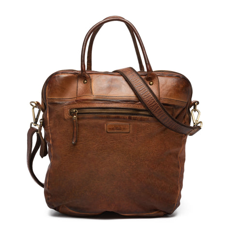 GIANLUCA VACCHI Collection Brown Antiqued Leather Holdall Bag NEW