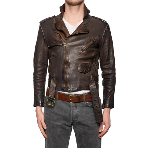 GIANLUCA VACCHI Collection Brown Antiqued Leather Belted Motorcycle Jacket S